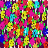 Abstract background of yellow and blue and red and pink flowers of diffuse flowing paint Stock Image