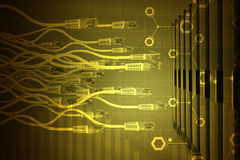 Abstract background with yellow computer cables Stock Photography