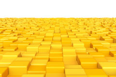 Abstract background. Yellow cubes. DOF Stock Photos
