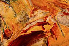 Abstract background, Yellow flow. Abstract painting detail. Oil on canvas yellow and red Stock Photos