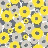 Abstract background with yellow and gray flowers. Abstract background. Seamless pattern with yellow and gray flowers on a white background. It can be used for Stock Illustration