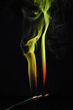 Abstract background - yellow, green fire shape. Abstract art artificial artistic backdrop background black blur bow bright burn color colored colorful colors royalty free illustration