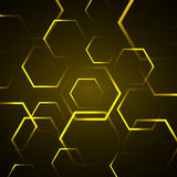 Abstract background with yellow hexagon Stock Photography