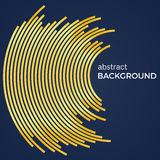 Abstract background with yellow lines. Yellow circles with place for your text  on a dark blue background Stock Images
