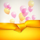Background with yellow ribbon and balloons Royalty Free Stock Images