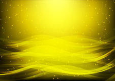 Abstract background with yellow waves and stars; Golden water wave; computer background; web background; presentation background.  Royalty Free Illustration
