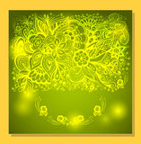 Abstract Background with Zen-doodle flowers and light in green Stock Photography