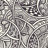 Abstract Background   with Zen-doodle pattern black on white Royalty Free Stock Photos