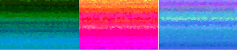 3 Abstract Backgrounds Bold Colors. With crystal shapes effect Stock Images