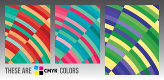 Abstract backgrounds with bright colour stripes. CMYK colors. Set of abstract vertical backgrounds with bright colour stripes. CMYK colors royalty free illustration