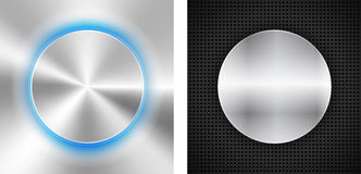 2 Abstract backgrounds with circle metallic inset. Vector illustration Stock Images