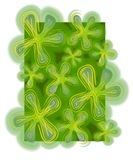 Abstract Backgrounds Clover. A freeform abstract texture of green, gold and blue clovers in a pattern on a dark green background stock illustration
