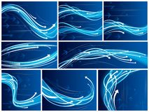 Abstract backgrounds. Collection of blue abstract vector backgrounds with arrows, vector illustration Royalty Free Stock Photos
