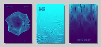 Abstract Backgrounds with 3d Effect. Blue Abstract Covers with Movement Effect. Wave Striped Backgrounds. Geometric Templates Set with Flow Lines. EPS10 Vector Royalty Free Illustration