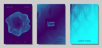 Abstract Backgrounds with 3d Effect. Blue Abstract Covers with Movement Effect. Wave Striped Backgrounds. Geometric Templates Set with Flow Lines. EPS10 Vector Vector Illustration
