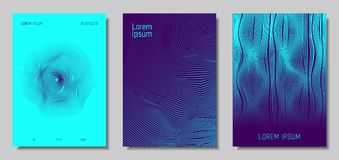 Abstract Backgrounds with 3d Effect. Blue Abstract Covers with Movement Effect. Wave Striped Backgrounds. Geometric Templates Set with Flow Lines. EPS10 Vector Stock Illustration