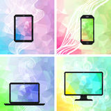 Abstract backgrounds with electronic devices Stock Image