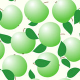 Abstract backgrounds with green apples. And leaf. Seamless pattern. Vector illustration Stock Photo