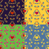 Abstract backgrounds with hearts. Seamless colorful set of abstract backgrounds with symbolic hearts stock illustration