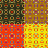 Abstract backgrounds with hearts. Seamless colorful set of abstract backgrounds with symbolic hearts vector illustration