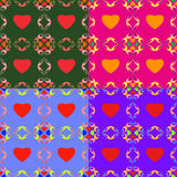 Abstract backgrounds with hearts. Seamless colorful set of abstract backgrounds with symbolic hearts royalty free illustration