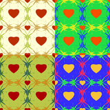 Abstract backgrounds with hearts. Seamless colorful set of abstract backgrounds with symbolic hearts Stock Image