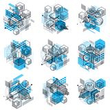 Abstract backgrounds with isometric elements, vector linear art. With lines and shapes. Cubes, hexagons, squares, rectangles and different abstract elements Royalty Free Stock Photos