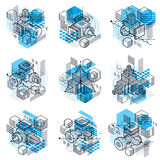 Abstract backgrounds with isometric elements, vector linear art Stock Images