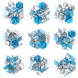 Abstract backgrounds with isometric elements, vector linear art. With lines and shapes. Cubes, hexagons, squares, rectangles and different abstract elements Stock Photo