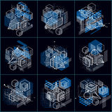 Abstract backgrounds with isometric elements, vector linear art Royalty Free Stock Photos