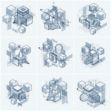 Abstract backgrounds with isometric elements, vector linear art. With lines and shapes. Cubes, hexagons, squares, rectangles and different abstract elements Stock Images