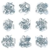 Abstract backgrounds with isometric elements, vector linear art. With lines and shapes. Cubes, hexagons, squares, rectangles and different abstract elements Stock Photography