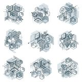 Abstract backgrounds with isometric elements, vector linear art. With lines and shapes. Cubes, hexagons, squares, rectangles and different abstract elements Stock Image