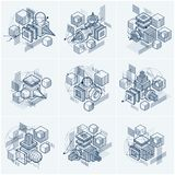 Abstract backgrounds with isometric elements, vector linear art. With lines and shapes. Cubes, hexagons, squares, rectangles and different abstract elements Royalty Free Stock Photography