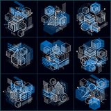 Abstract backgrounds with isometric elements, vector linear art. With lines and shapes. Cubes, hexagons, squares, rectangles and different abstract elements Royalty Free Stock Image