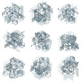Abstract backgrounds with isometric elements, vector linear art. With lines and shapes. Cubes, hexagons, squares, rectangles and different abstract elements Royalty Free Stock Images