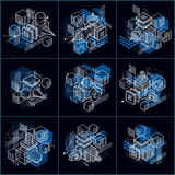 Abstract backgrounds with isometric lines and shapes. Cub. Es, hexagons, squares, rectangles and different abstract elements. Vector collection royalty free illustration