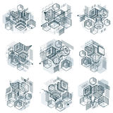 Abstract backgrounds with isometric lines and shapes. Cub. Es, hexagons, squares, rectangles and different abstract elements. Vector collection stock illustration