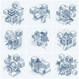 Abstract  backgrounds with isometric lines and shapes. Cub. Es, hexagons, squares, rectangles and different abstract elements. Vector collection Royalty Free Stock Photo