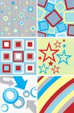 Abstract backgrounds scrap. Several abstract backgrounds with stars and dots royalty free illustration