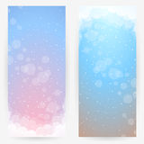 Abstract backgrounds. Set of two backgrounds in delicate pink-blue-brown tones with stylized clouds, sky and circles Royalty Free Stock Photography