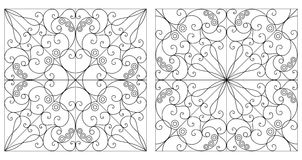 Abstract backgrounds. Two black and white patterned backgrounds. Arabesque ornament Stock Photography