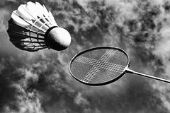 Abstract badminton raket and shuttlecock stock images