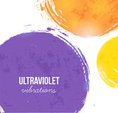 Abstract bakckround with ultraviolet purple, orange and yellow circles. Color of the year 2018 Royalty Free Stock Images