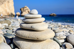 Abstract balanced stones on sea Stock Photography