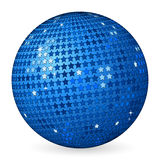 Abstract ball blue with stars. Isolated blue abstract ball on a white background. Vector illustration Royalty Free Stock Photo
