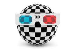 Abstract ball with 3d glasses. On a white background Royalty Free Stock Photo
