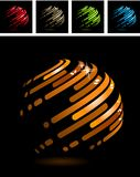 Abstract ball made of stripes. Abstract symbol made of glossy metal stripes Royalty Free Stock Photos