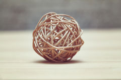 Abstract ball woven from twigs. Bauble handmade Royalty Free Stock Image