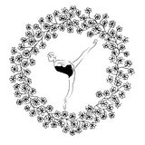 Abstract Ballerina dancing in flowers circle in black and white line art Stock Images